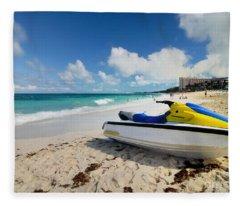 Jet Ski On The Beach At Atlantis Resort Fleece Blanket