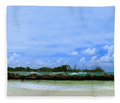 Jet Skis In Longboat Pass Fleece Blanket