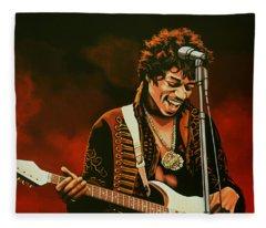 Rock Guitarist Art Jimi Hendrix Fleece Blankets