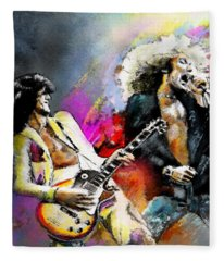 Jimmy Page And Robert Plant Led Zeppelin Fleece Blanket
