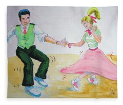 Jive Dancing Cartoon Fleece Blanket