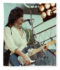 Joe Perry Of Aerosmith At 1979 Monsters Of Rock In Oakland Ca Fleece Blanket