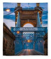John A. Roebling Suspension Bridge Fleece Blanket