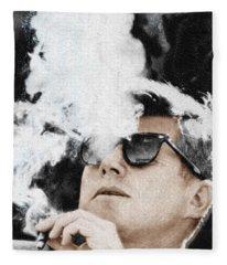 John F Kennedy Cigar And Sunglasses Fleece Blanket