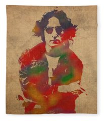 John Lennon Watercolor Portrait On Worn Distressed Canvas Fleece Blanket