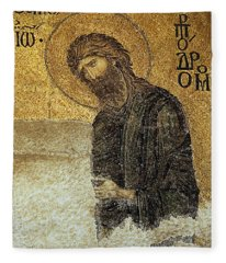 John The Baptist-detail Of Deesis Mosaic  Hagia Sophia-judgement Day Fleece Blanket