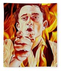 Johnny Cash And It Burns Fleece Blanket