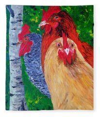 John's Chickens Fleece Blanket
