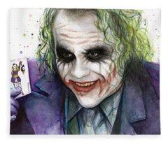 Joker Watercolor Portrait Fleece Blanket