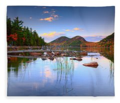 Jordan Pond In Fall Fleece Blanket