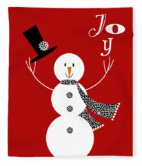 Joyful Snowman Fleece Blanket