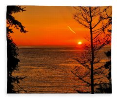Juan De Fuca Sunset Fleece Blanket
