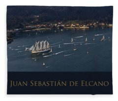 Juan Sebastian Elcano Departing The Port Of Ferrol Fleece Blanket