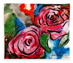 Juicy Red Roses Fleece Blanket