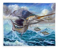 Jumping Sailfish And Small Fish Fleece Blanket