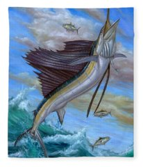 Jumping Sailfish Fleece Blanket