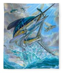 Jumping White Marlin And Flying Fish Fleece Blanket