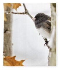 Junco And Oak Fleece Blanket