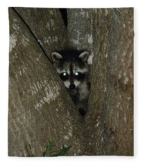Baby Raccoon And Jesus Fleece Blanket