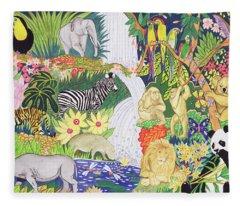 Jungle Animals Wc Fleece Blanket