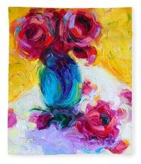 Just Past Bloom - Roses Still Life Fleece Blanket