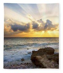 Kaena Point State Park Sunset 2 - Oahu Hawaii Fleece Blanket