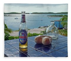 Kalik Beer Bottle At The Front Porch Fleece Blanket