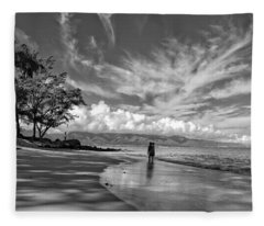 Kanaha Beach Maui Hawaii Panoramic Fleece Blanket