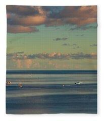 Kaneohe Bay Panorama Mural 4 Of 5 Fleece Blanket