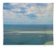 Kaneohe Sandbar Panorama Fleece Blanket