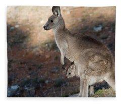 Kangaroo And Joey Fleece Blanket