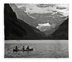 Kayak On Lake Louise Fleece Blanket
