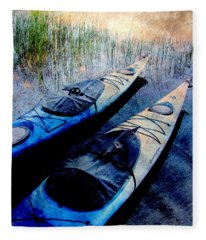 Kayaks Resting W Metal Fleece Blanket