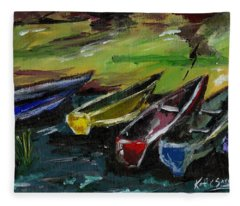 Kazinga Channel Boats Fleece Blanket