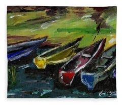 Kazinga Channel Boats Fleece Blanket