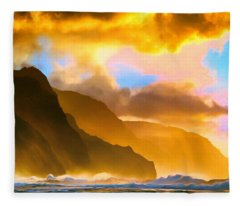 Ke'e Beach Sunset Fleece Blanket