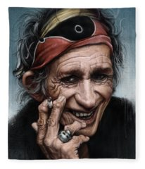 Rolling Stones Keith Richards Fleece Blankets