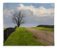 Kentucky Horse Farm Road Fleece Blanket