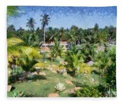 Kerala Landscape Fleece Blanket