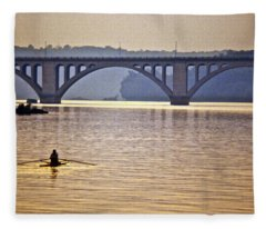 Key Bridge Rower Fleece Blanket