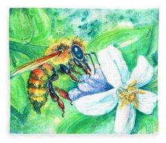 Key Lime Honeybee Fleece Blanket