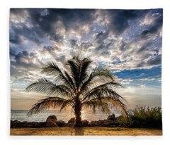 Key West Florida Lone Palm Tree  Fleece Blanket