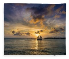 Key West Florida Sunset Mallory Square Fleece Blanket