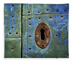 Keyhole On A Blue And Green Door Fleece Blanket
