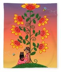 Kitty And Bumblebees Fleece Blanket