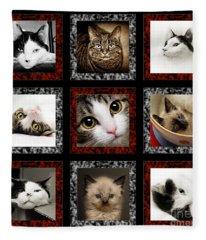 Kitty Cat Tic Tac Toe Fleece Blanket