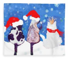 Kitty Christmas Fleece Blanket
