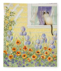 Kitty In The Window Fleece Blanket