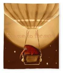 Kiwi Bird Kev - Fly Me To The Moon - Sepia Fleece Blanket