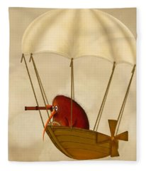 Kiwi Bird Kev's Airship Fleece Blanket